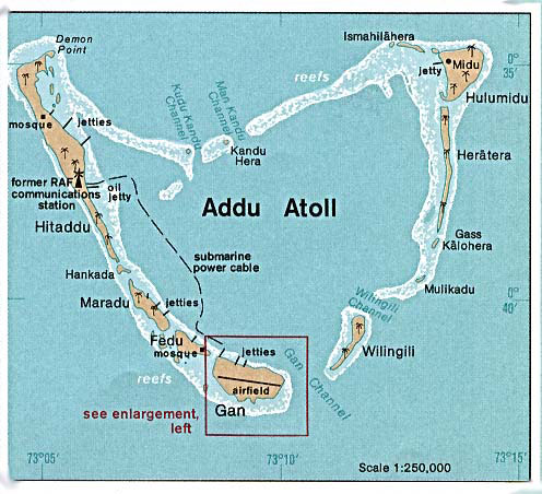 Detailed map of Addu Atoll. Addu Atoll detailed map.