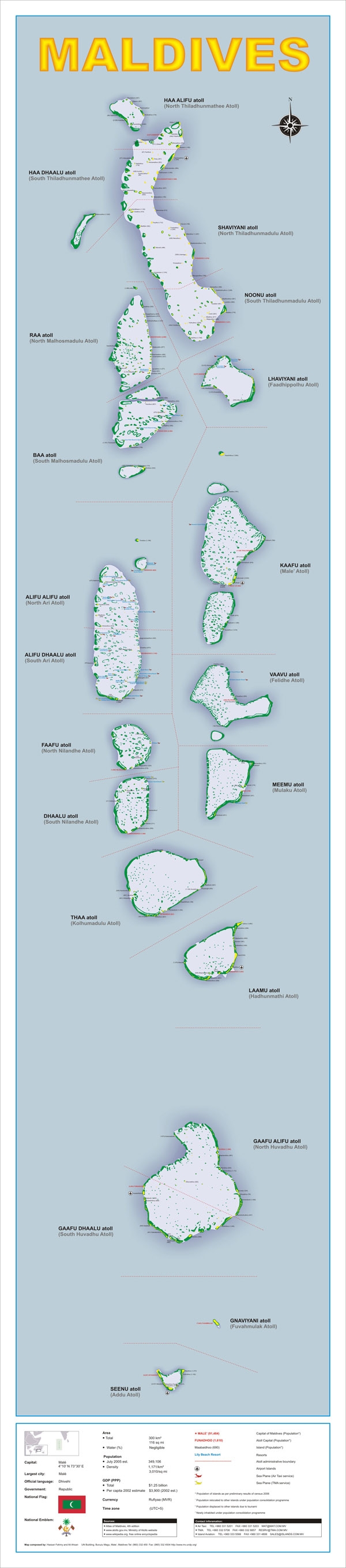 Large detailed administrative map of Maldives.