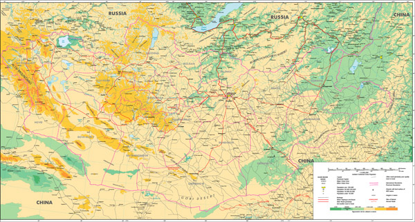Full large detailed physical map of Mongolia. Mongolia full large detailed physical map.