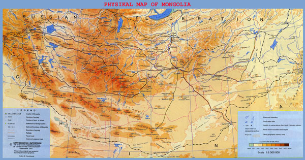 Large detailed physical map of Mongolia.