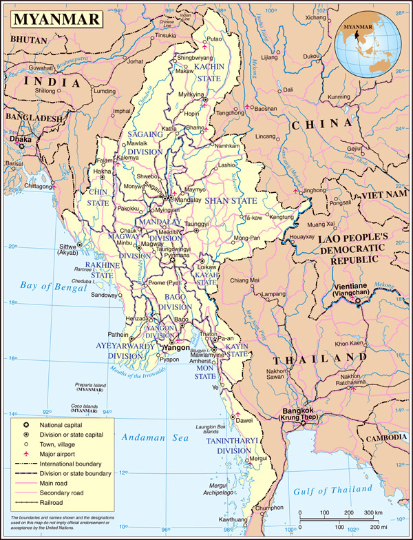 Detailed administrative and political map of Burma.