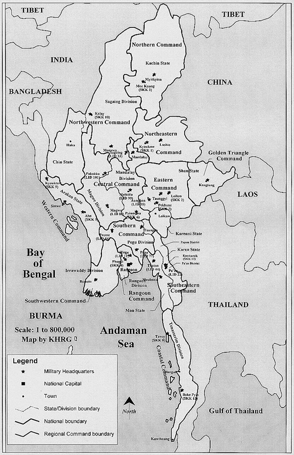 Detailed administrative map of Burma.