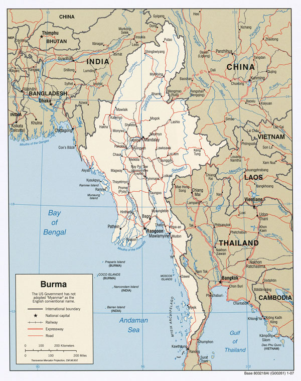 Detailed road and administrative map of Burma.