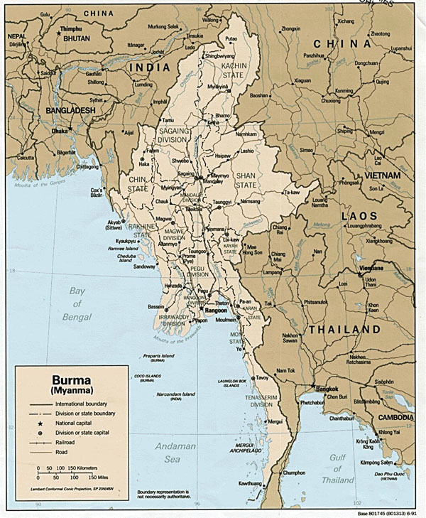 Large detailed administrative and political map of Burma.