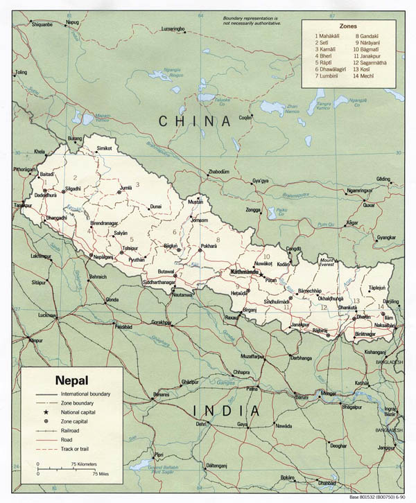 Detailed political and administrative map of Nepal.