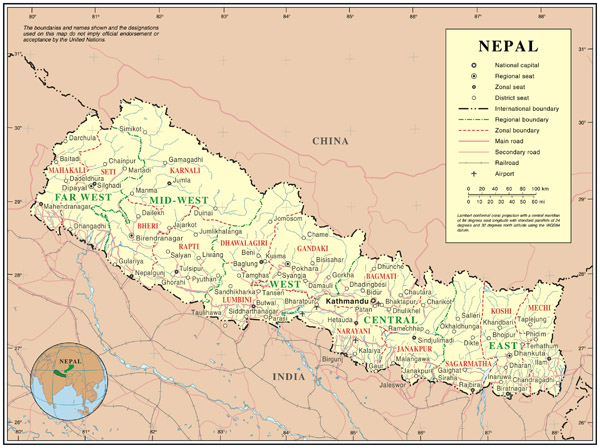 Large detailed political map of Nepal. Nepal large detailed political map.