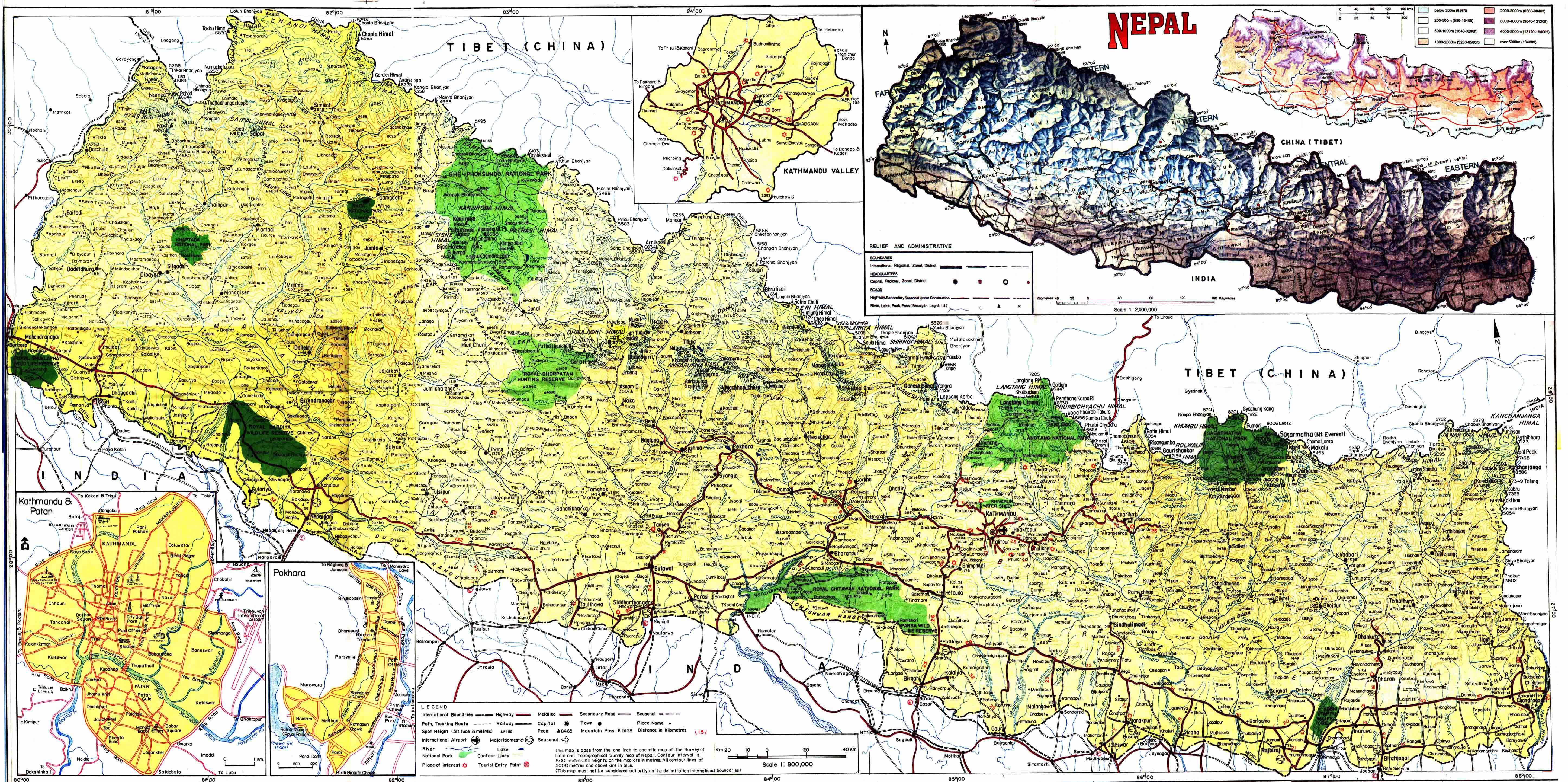 Large detailed road and physical map of Nepal Nepal large detailed