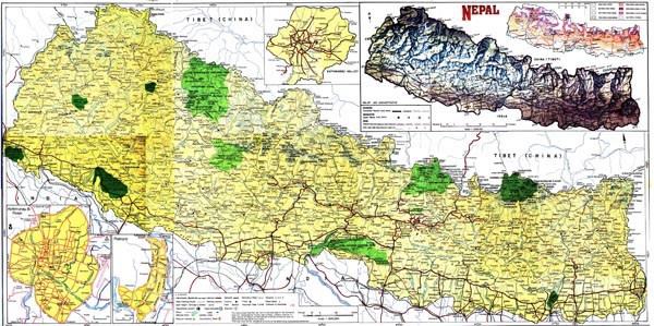 Large detailed road and physical map of Nepal.