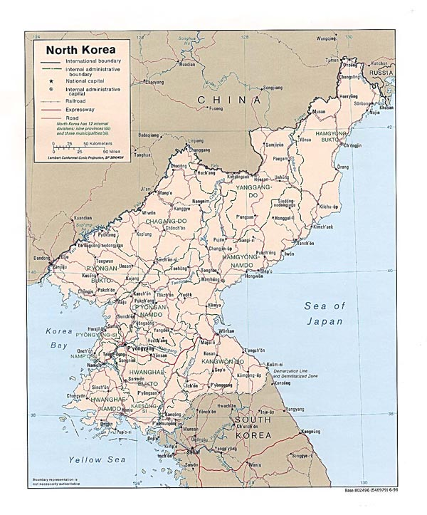 Detailed administrative and road map of North Korea.