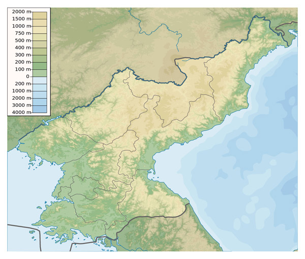 Detailed physical map of North Korea. North Korea detailed physical map.