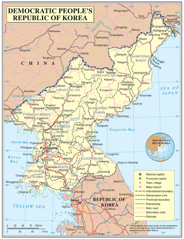Detailed political and administrative map of North Korea.