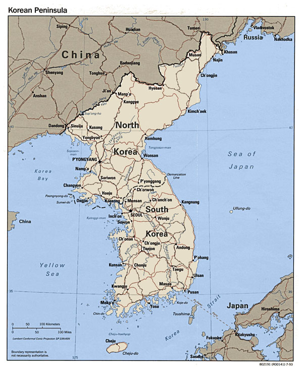 Detailed political map of Korean Peninsula - 1993.