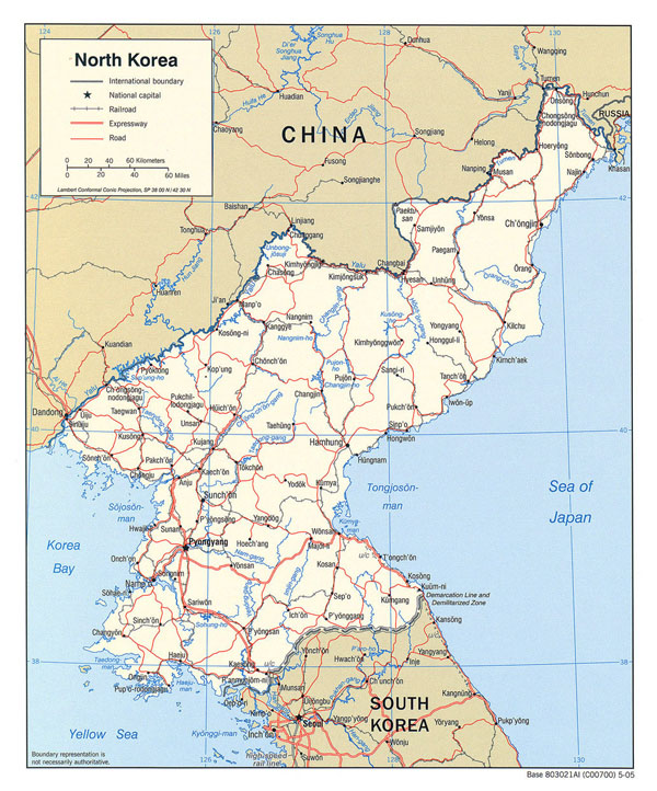 Detailed political map of North Korea. North Korea detailed political map.