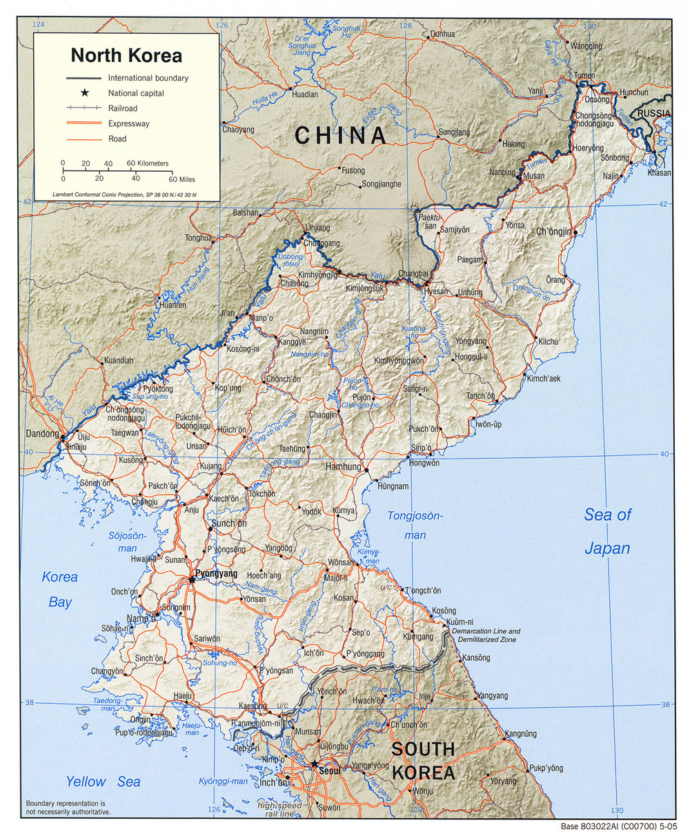 Detailed political map of North Korea with relief, roads and major ...