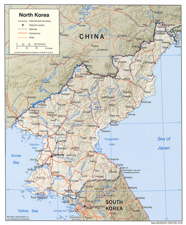 Detailed political map of North Korea with relief, roads and major cities - 2005.