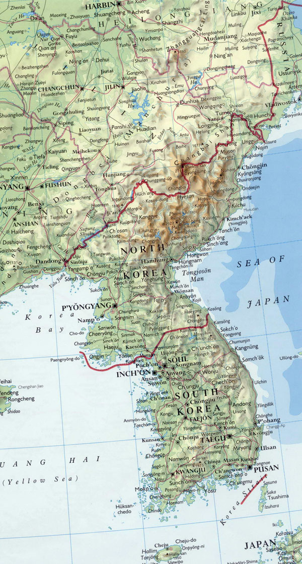 Detailed relief map of Korean Peninsula with major cities.