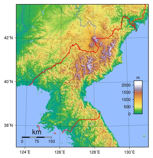 Detailed topographical map of North Korea. North Korea detailed topographical map.