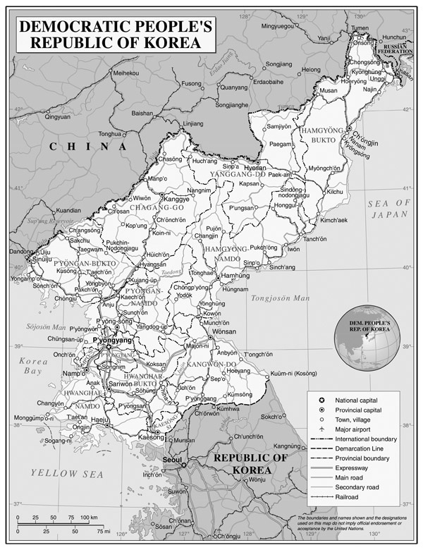 Large detailed political and administrative map of North Korea (DPRK) with roads, airports and major cities.