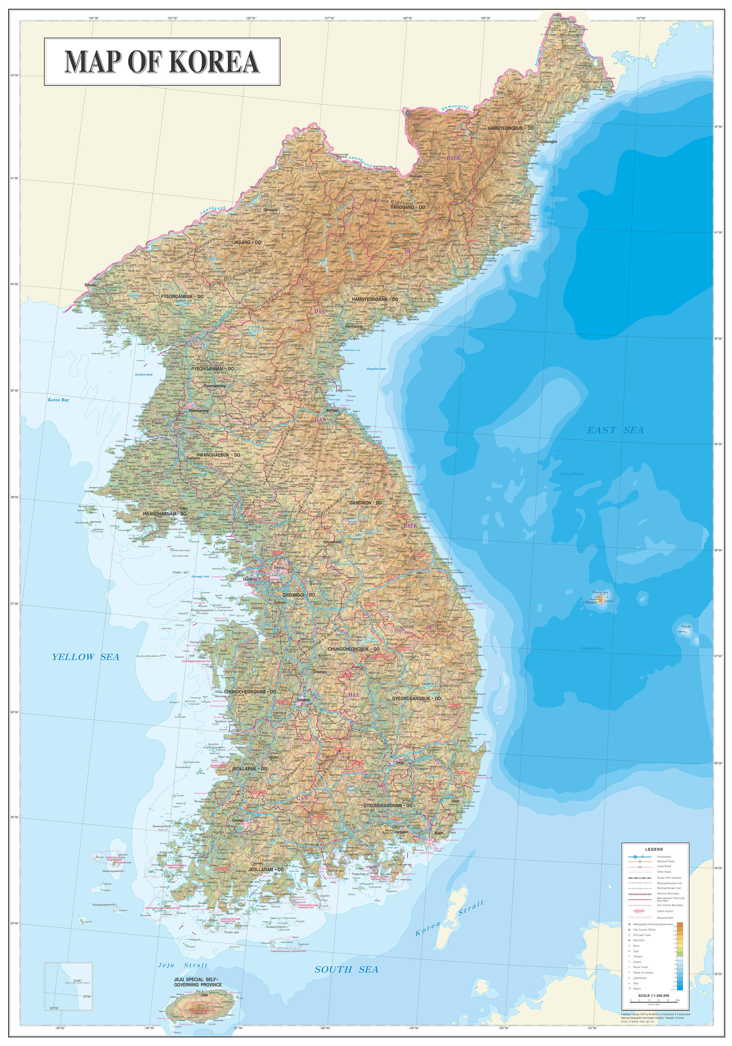 Large detailed topography and geology map of Korea North Korea