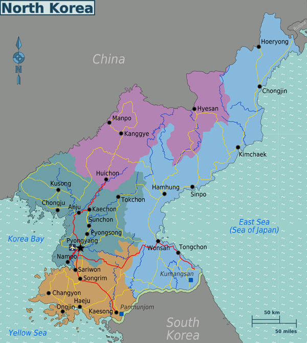 Large regions map of North Korea. North Korea large regions map.