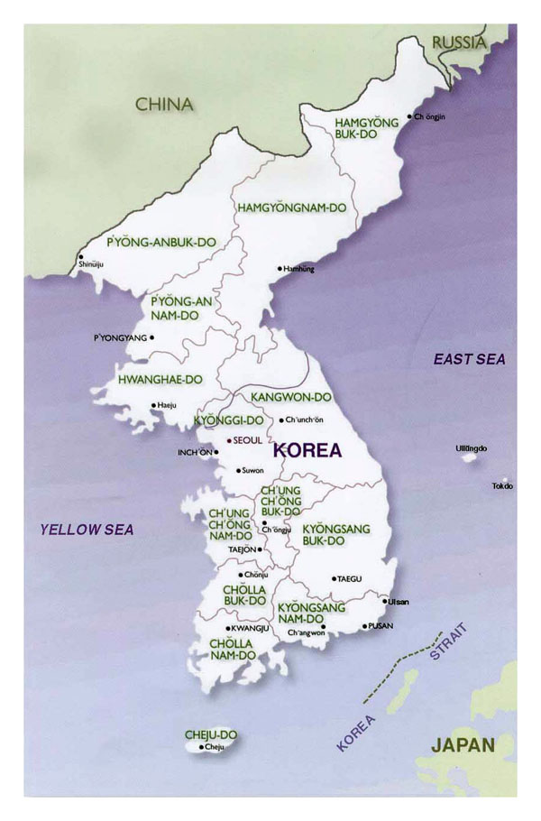 Political and administrative map of Korean Peninsula - 2001.