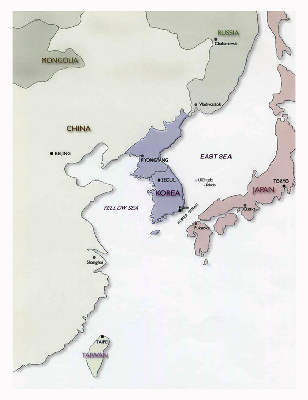 Political map of Korean Peninsula - 2001. Korean Peninsula political map - 2001.