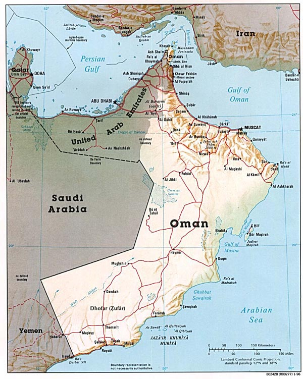 Detailed relief and political map of Oman.