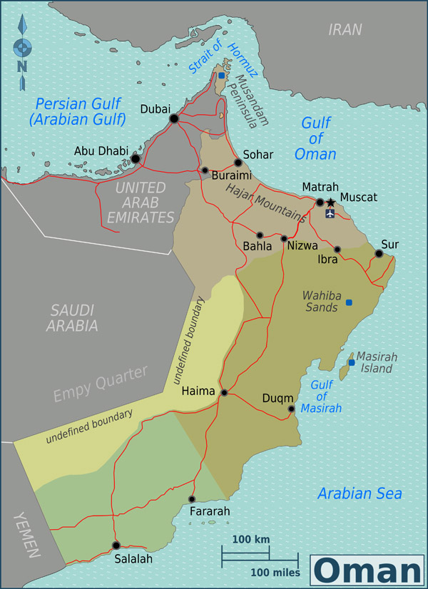 Detailed road and administrative map of Oman.