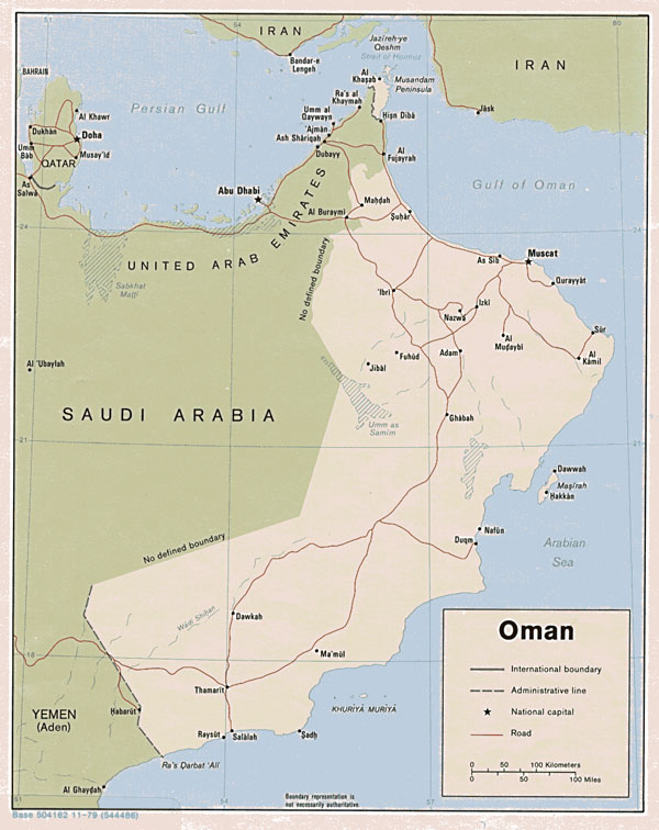 Detailed road and political map of Oman.