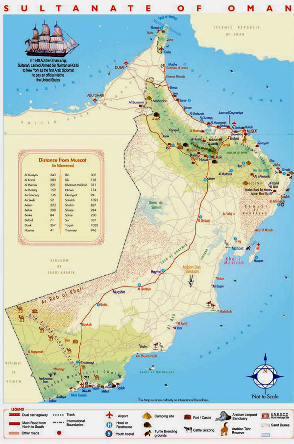 Detailed tourist map of Oman. Oman detailed tourist map.