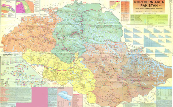 Detailed map of Northern areas of Pakistan. Northern areas of Pakistan detailed map.