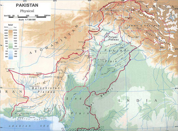 Detailed physical map of Pakistan. Pakistan detailed physical map.