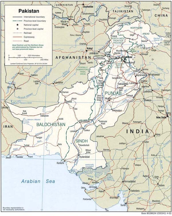Detailed political and administrative map of Pakistan.