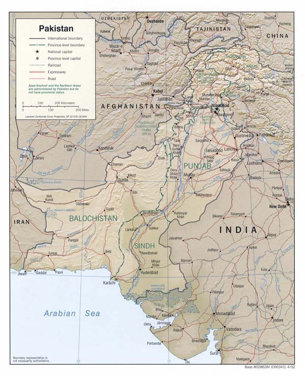 Detailed relief and political map of Pakistan.