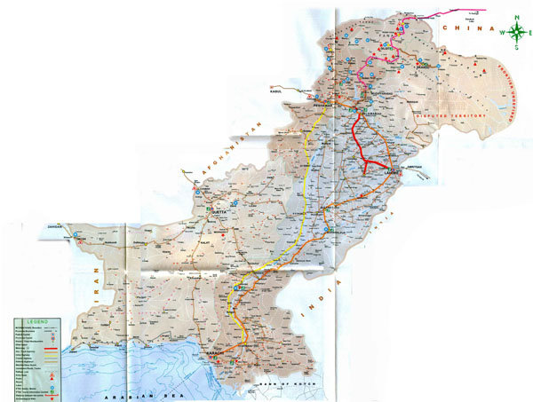 Large detailed road and railway map of Pakistan.