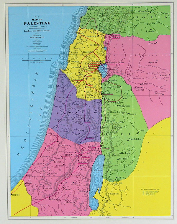 Detailed Palestine New Testament map. Detailed New Testament map of Palestine.