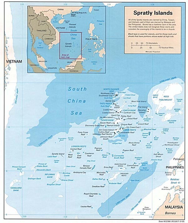 Detailed political map of Spratly Islands.