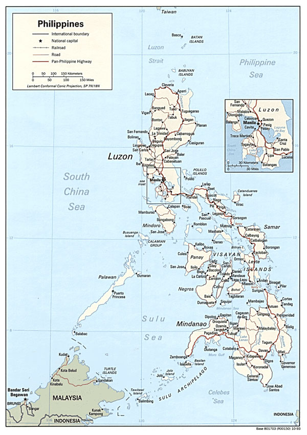 Large detailed political and road map of Philippines.