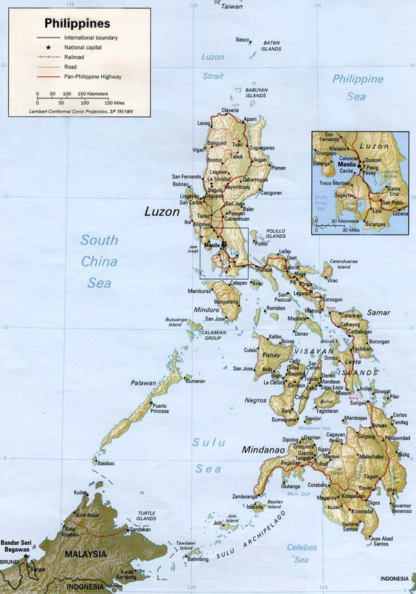 Large detailed relief and road map of Philippines.