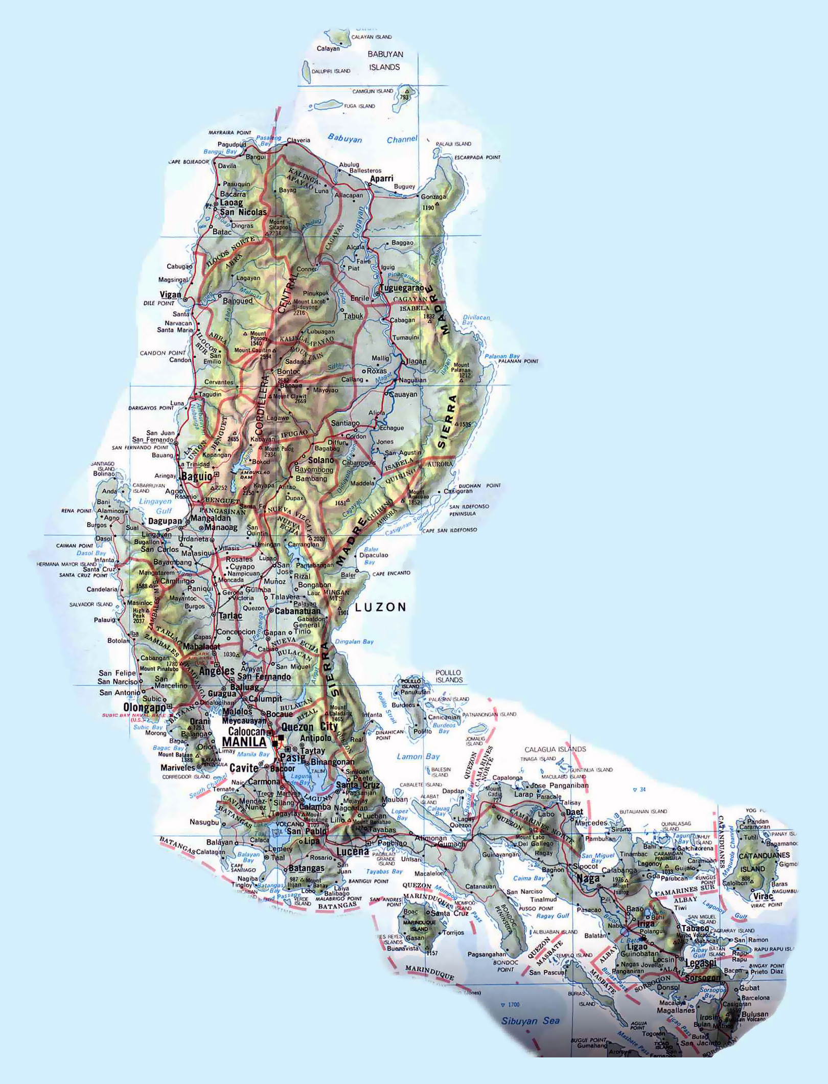 Large detailed road and topographical map of Philippines