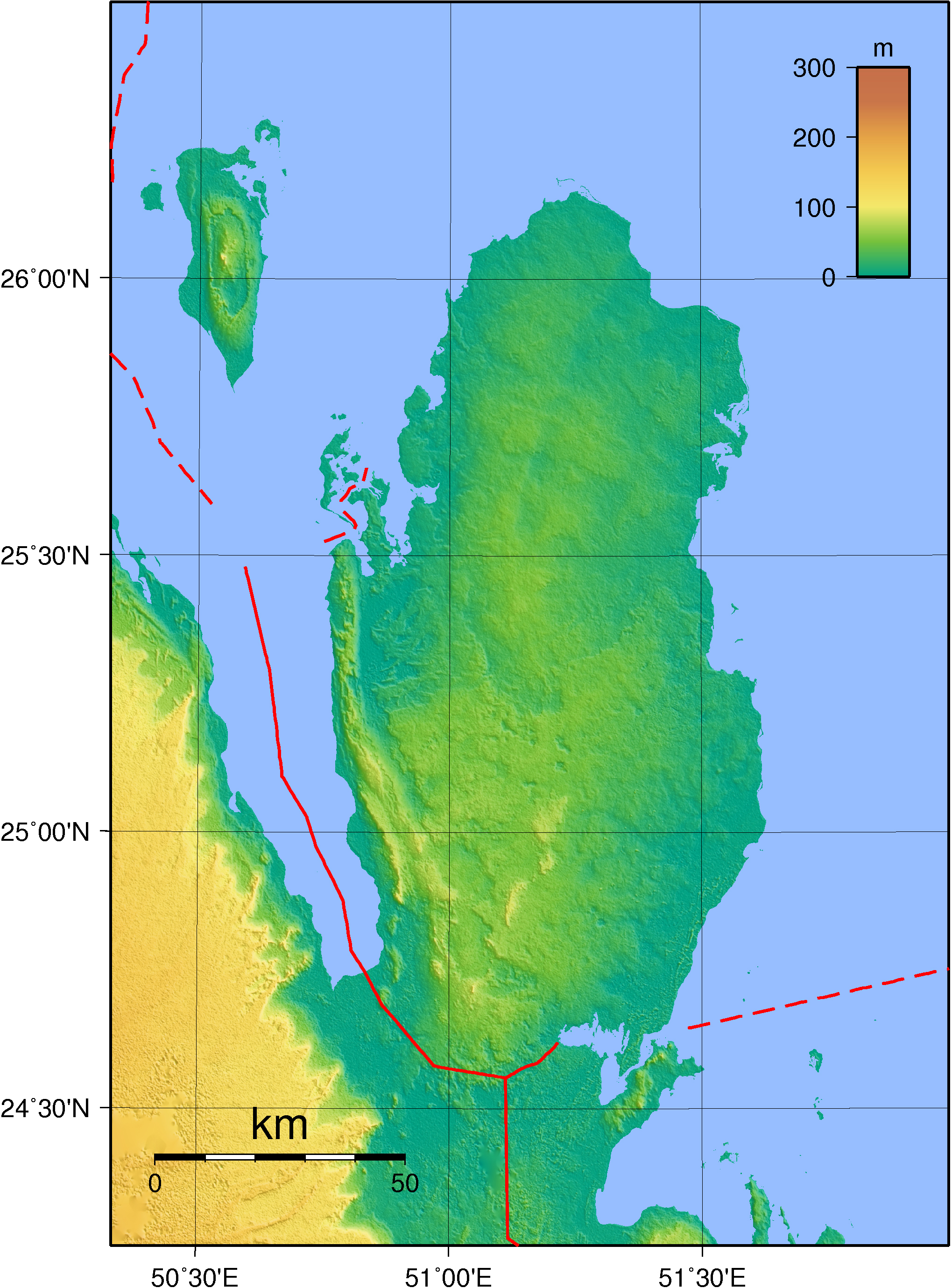 Large detailed physical map of Qatar. Qatar large detailed physical on