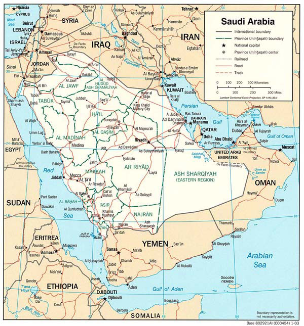 Detailed political and administrative map of Saudi Arabia.