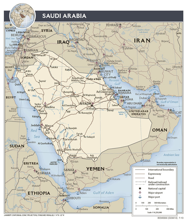 Detailed political map of Saudi Arabia. Saudi Arabia detailed political map.