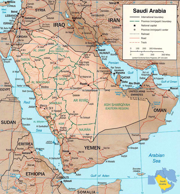 Detailed relief and political map of Saudi Arabia.