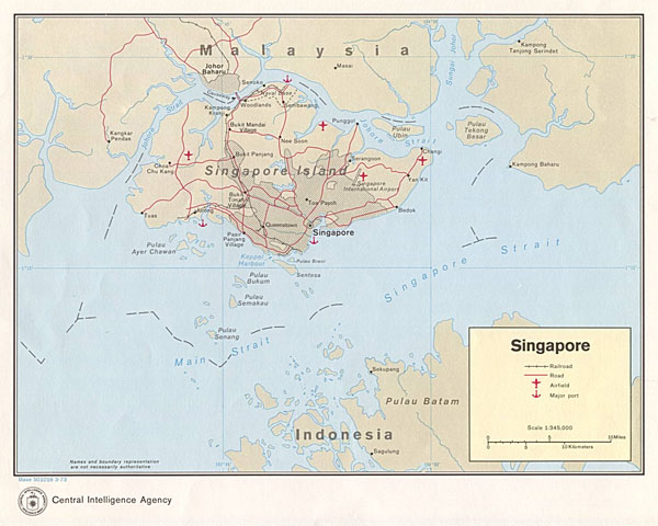 Detailed political and road map of Singapore.