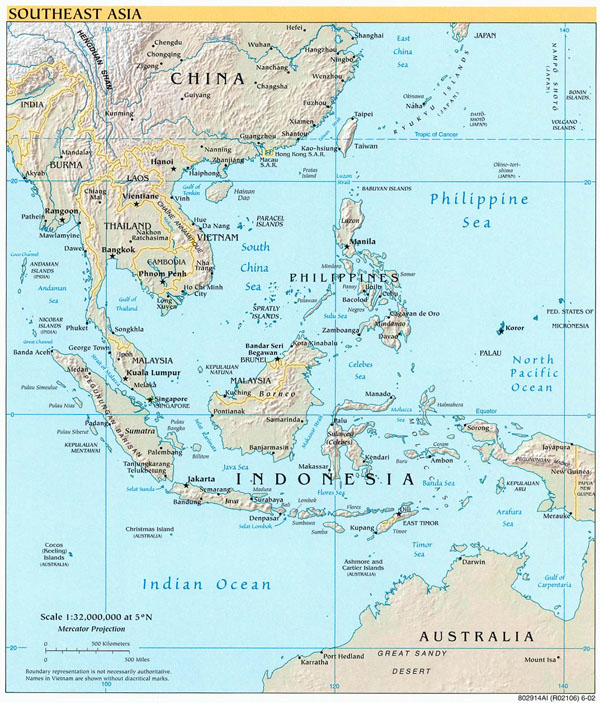 Detailed political map of Southeast Asia. Southeast Asia detailed political map.