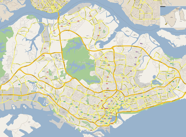 Large detailed road map of Singapore.