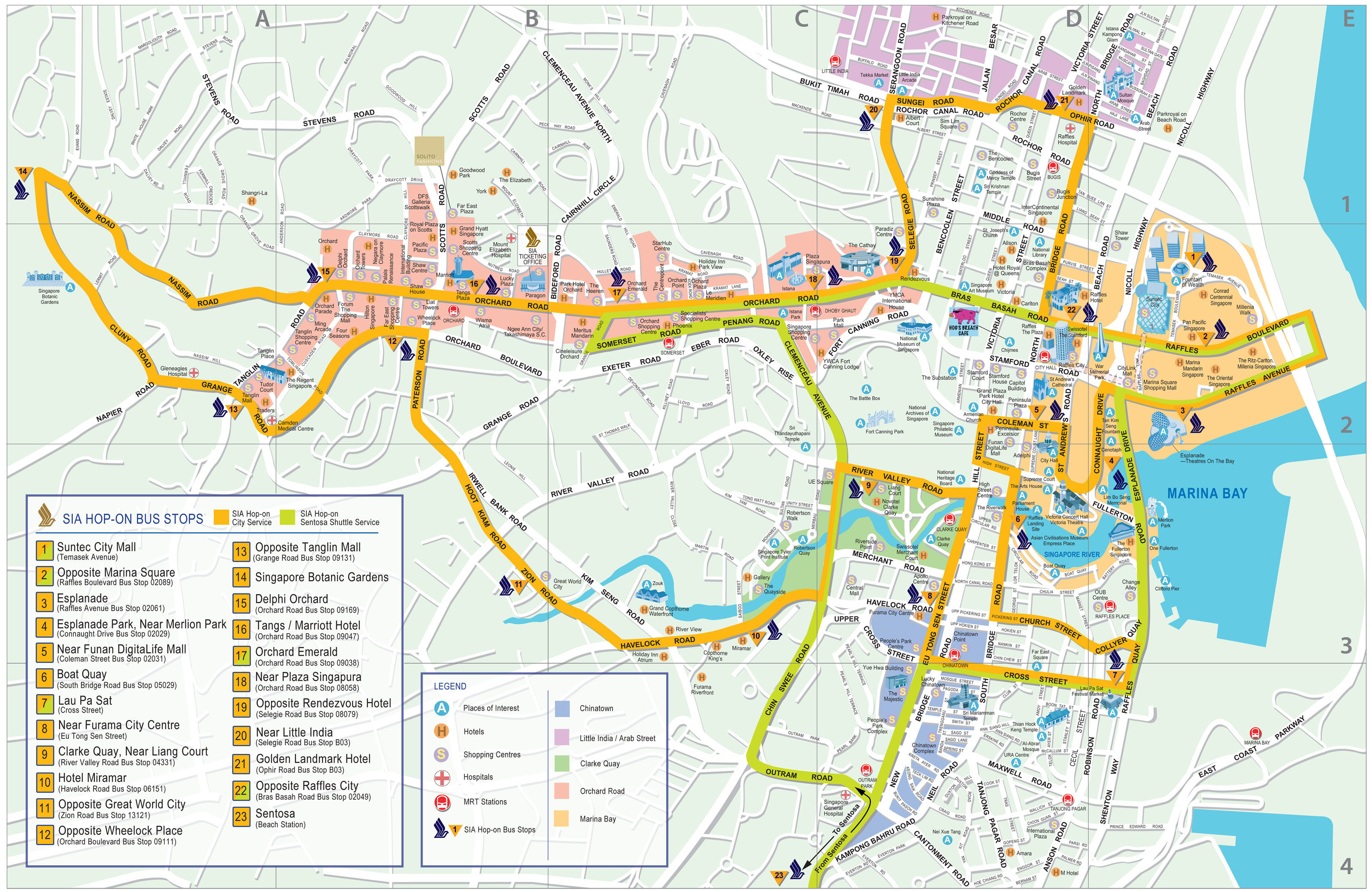 Detail Singapore Map for Tourists Guide – Singapore Tourist Map
