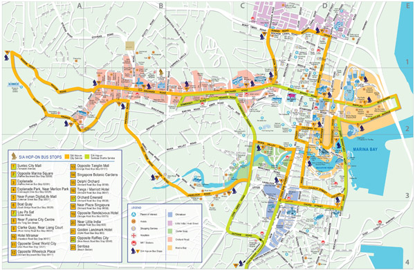 Large detailed road map of Singapore city.