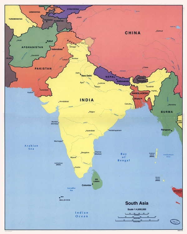 Large detailed political map of South Asia - 1998.